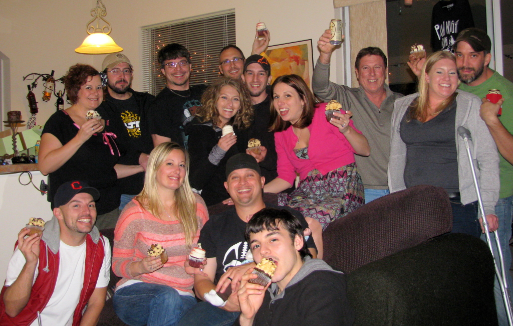 The group, holding the cupcakes (and the only photo taken of them before they were devoured!)