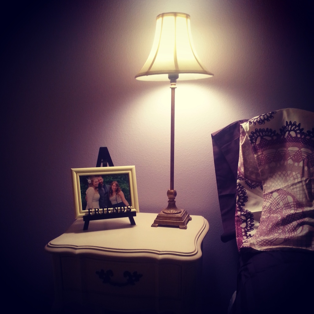 The other bedside table on the photo side of the room. My goal: Make guests feel like this is THEIR room.