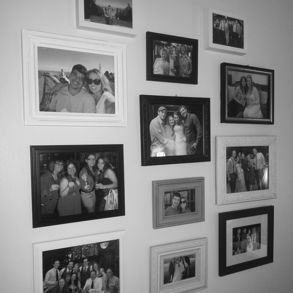 My photo wall with lots of fun frames from Marshalls and Old Time Pottery. I tried to keep photos of just me and Vince to a minimum, but a couple of our honeymoon pics were too beautiful not to print.