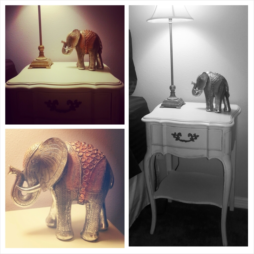 My refurbished bedside tables from Adjectives Market in Altamonte. I absolutely love the lines and how delicate they are.  And this elephant? $8.99 from Ross and the perfect amount of sparkle.