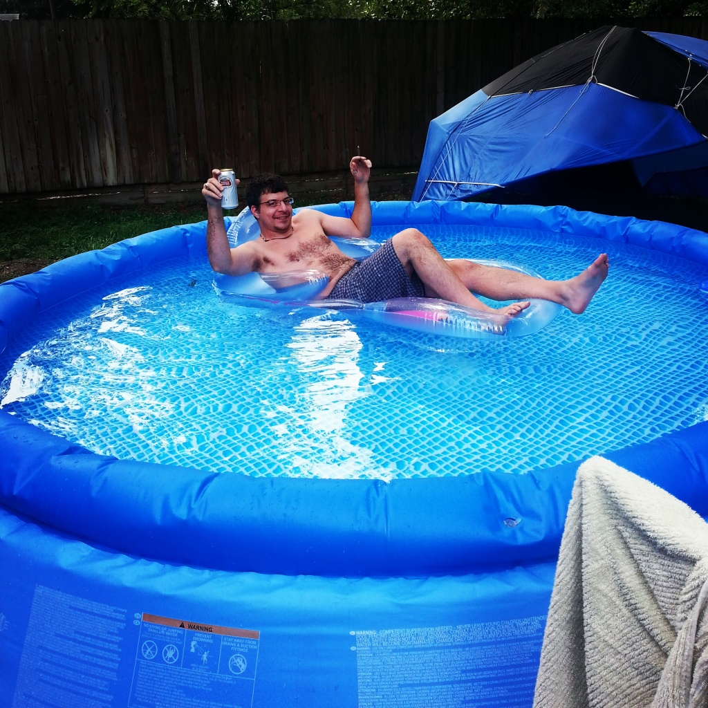 "Vince in his ridiculous (but kind of adorable) pool that I call ""the soup bowl."""